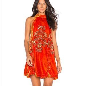 NWT Free People Jill's Velvet Swing Dress Orange